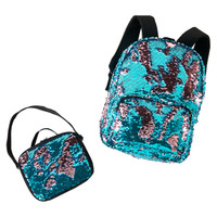 Teal & Pink Sequin Backpack & Lunch Tote