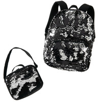 Black & Silver Sequin Backpack & Lunch Tote