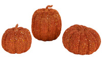 3pc Orange Pumpkin Decor Set