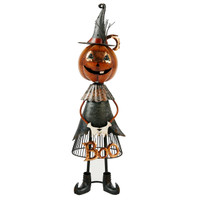 Jackolantern Witch Metal Boo Decor