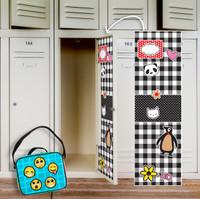 Black & White Plaid Locker Decal & Emoji Patches