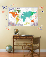 Multi Color Map Giant Wall Decal