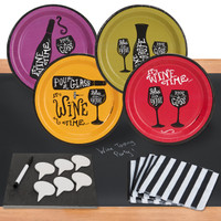 Wine Time 32 pc Appetizer Pack w/ Chalkboard Runner & Cheese Board