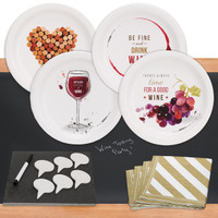 Wine Party 32 pc Appetizer Pack w/ Chalkboard Runner & Cheese Board