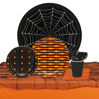 Halloween Black & Orange 32 Guest Tableware Kit