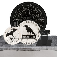 Halloween Trick or Treat Raven 32 Guest Tableware Kit