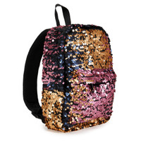 Pink, Navy & Gold Sequin Mini Backpack
