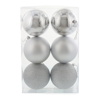 Silver 100mm Ball Ornament Set (6)