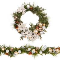 Metallic Wreath & Garland Set