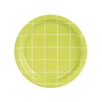 Fancy Floral Green Grid Dessert Plate (8)