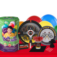 Racecar Racing Party 16 Guest Party Pack and Helium Kit