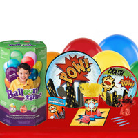 Superhero Comics 16 Guest Party Pack and Helium Kit