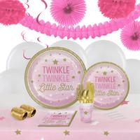 winkle Twinkle Little Star Pink 16 Guest Tableware & Deco Kit