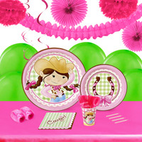 Pink Cowgirl 16 Guest Tableware & Deco Kit