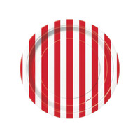 Red Stripe Dessert Plates