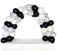 Celebration Tabletop Balloon Arch-Black, White & White with Black Dots