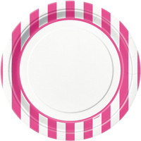 Hot Pink Stripe Dinner Plates
