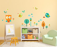 Woodland Animals Birds, Owls, Home Room Decor Removable Wall/Locker/Door/Decal Kids/Children