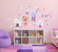 Kitten and Bunnies Girly Flower Home Room Decor Removable Wall/Locker/Door/Decal Kids/Children
