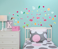 Luau Flamingo Summer Home Room Decor Removable Wall/Locker/Door/Decal Kids/Children