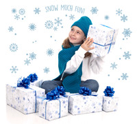 Snowflakes, Snow Much Fun, Winter Home Room Decor Removable Wall/Locker/Door/Decal Kids/Children