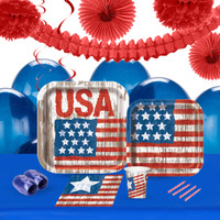 Vintage Patriotic Flag 16 Guest Party Pack 2
