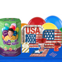 Vintage Patriotic Flag 16 Guest Party Pack with Helium Kit