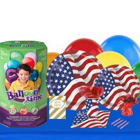 Patriotic USA Flag 16 Guest Party Pack and Helium Kit