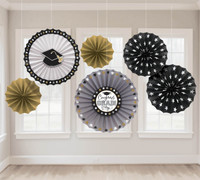 Graduation Paper Fan Decorations - Black, Silver, and Gold (6)