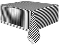 Black Stripe Plastic Tablecover