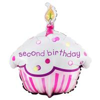 Girl's Lil' Cupcake 2nd Birthday Foil Balloon