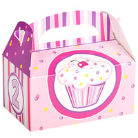 Girl's Lil' Cupcake 2nd Birthday Empty Favor Boxes