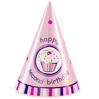 Girl's Lil' Cupcake 2nd Birthday Cone Hats