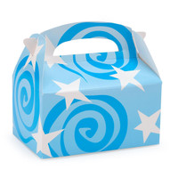 Turquoise with White Stars Empty Favor Boxes