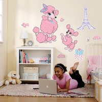 Pink Poodle in Paris Giant Wall Decals