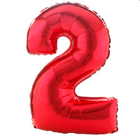 #2 Red Shaped Foil Balloon