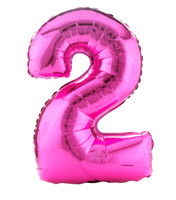 #2 Pink Shaped Foil Balloon