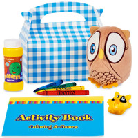 Look Whoo's 1 Blue Party Favor Box