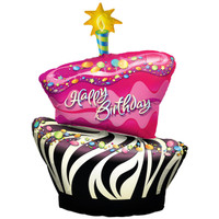 Funky Zebra Birthday Cake Foil Balloon