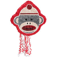 Sock Monkey Red Pull-String Pinata