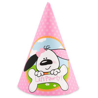 Playful Puppy Pink 1st Cone Hats