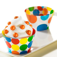 Primary Dots Reversible Cupcake Wrappers