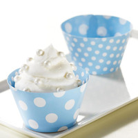 Light Blue and White Polka Dots Reversible Cupcake Wrappers