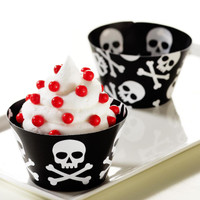 Skull and Crossbones Reversible Cupcake Wrappers