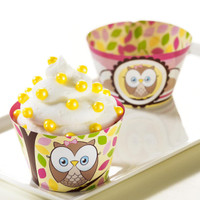 Look Whoo's 1 Pink Reversible Cupcake Wrappers