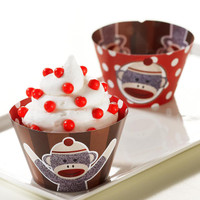 Sock Monkey Red Reversible Cupcake Wrappers