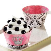 Elegant Princess Damask Reversible Cupcake Wrappers