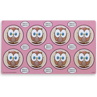 Pink Owl Small Lollipop Sticker Sheet