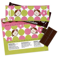 Pink Mod Monkey Large Candy Bar Wrappers