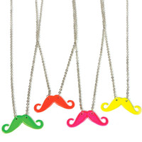 Neon Moustache Necklace